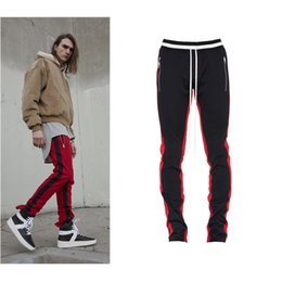 Wholesale Grey Sweatpants - 2018 New side zipper FOG pants hip hop Fear Of God sweatpants Fashion urban clothing red bottoms justin bieber FOG jogger pants SIZE S-XL