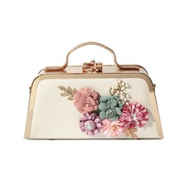 Wholesale Silk Flowers For Wedding Ivory - New Evening Clutch Bags Flowers Evening Bag With Chain Shoulder Bag Women's Handbags Wallets Evening Bag For Wedding Party