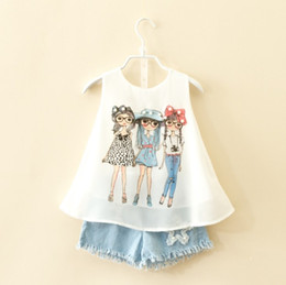 Wholesale girls mandarin collar - 2018 new baby girl chiffon vest tank top+ denim shorts suit kids summer outfits children clothing set