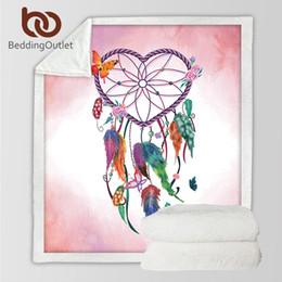 Peluche a forma di cuore online-Bedding Outlet Dreamcatcher Throw Blanket a forma di cuore Boho Sherpa Fleece Blanket Cozy Velvet Plush Acquerello per letti