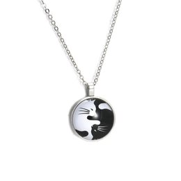 vintage cat necklace Promo Codes - 1pcs New Vintage Black White Cats Glass Pendant Necklace Yin Yang cabochon Long Silver Necklace For Women Accessories Jewelry