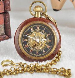 2019 relojes baratos a mano Buena calidad antiguo vintage clásico regalo para hombres caja de latón de madera cadena corta reloj de bolsillo mecánico P1134 rebajas relojes baratos a mano