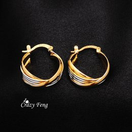 Wholesale nickel free jewelry earrings - whole saleFree Shipping Fashion Yellow Gold-color Hoop Earrings Party Engagement Round Style Nickel Free Jewelry for Women Wholesale