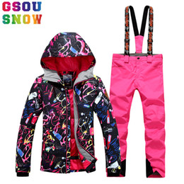 Wholesale snowboard jackets brands - Wholesale- GSOU SNOW Brand Ski Suit Women Waterproof Ski Jacket Pants Winter Mountain Skiing Suit Ladies Outdoor Snowboard Sport Clothing