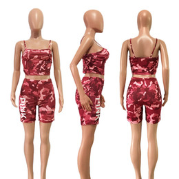Wholesale Wholesale Chest Vest - Love Pink Letter Camouflage Outfit Women Sleeveless Chest Wrap Shirt Crop Top Vest+Camo Shorts 2pcs Clothing Set Tracksuit Jogger Sportswear