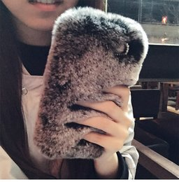 Wholesale rex cover - Rex Rabbit Hair Soft Touch Warm Fur Case Bling Diamond Plush Furry Women Girl Lady Shell Cover For iPhone X 8 7 Plus 6 6S Samsung S8 S7 Edge