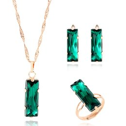 Wholesale Rectangle Wedding Rings - New Women Jewelry Set Gold Color Lovely Charm Green Gem Rectangle Earring Necklace Ring 3 Pcs Statement Jewelry Set For Wedding