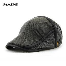 Wholesale Male Hiking Cap - JAMONT Winter Male Golf Caps Retro Knitting Warm Hat Sunshade Cotton Adjustable 57-59CM Man Hats Since 1985 4 Colors