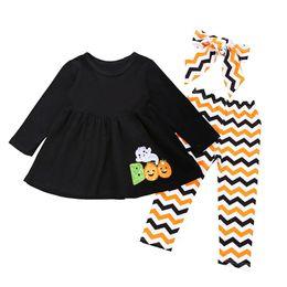 pantaloni d'onda Sconti Toddler Girl Clothes Halloween Outfit Bambini manica lunga in cotone T-shirt Top Dress stampa ondulata Pantaloni Leggings Fascia 3PCS Ragazze che coprono gli abiti