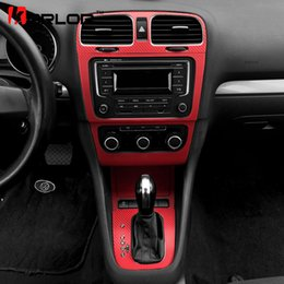 Wholesale Vw Stickers Decals - wholesale Volkswagen Golf 6 MK6 GTI Interior Central Control Panel Carbon Fiber Protection Stickers Decals Car styling For VW Accessories