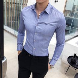 0ab95801d 2019 simples vestidos de baile de graduación Camisa de los hombres sólidos  de alta calidad a