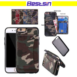 Wholesale Camo Wallets - Fasion Army Camo Wallet Phone Case Multifunction Camouflage PU & TPU Cash Card Slot for iphone and Samsung DHL Free
