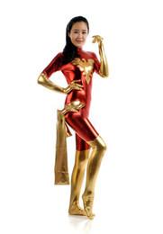 zentai unisex oro catsuit Sconti Gold and Red Tights Unisex economici Super Girl Fetish Phoenix si adatta al costume da supereroe Catsuit di Halloween