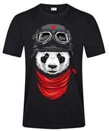 T-shirt imprimé à manches courtes noir pour hommes The Panda Pilot Funny Design Graphic Tee Shirt ? partir de fabricateur
