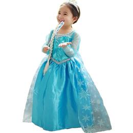 Wholesale children maxi - Halloween Girl Frozen Dress Princess Maxi Costume Floar Cartoon Girls Clothes Princess Kids Party Children Clothing Girl 10T Vestido Menina