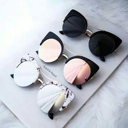 Wholesale Round Cateye Sunglasses - Stylish Female Brand Designer Round Oversized Cat Eye Classic Pink Mirror Cateye Sunglasses Women Party Vintage Lady Sun Glasses