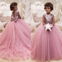 Wholesale wedding dresses big bows - Sequined Ball Gown Flower Girls Dresses Appliques Back With Big Bow Children Kids Birthday Party Dress A Line Tulle Girls Pageant Dress
