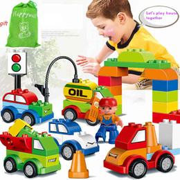 Wholesale Crane Plastics - Happywill HM137 52PCS Varied Bricks Set Car Gas Station Truck Crane Building Blocks Kids Toy Worker Compatible