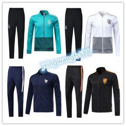 Wholesale grey microfiber - TOP Quality 2018 2019 Mermanny Soccer Jacket Netherlands national team tracksuit 18 19 OZIL POGAB LUKAKU Football jacket Training suit