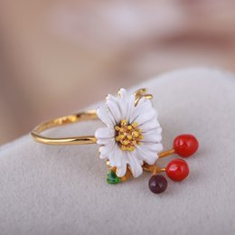 Wholesale Jewellry Rings - Pairs Fashion Enamel Gold Rings For Lady Les Nereides Luxury Daisy Flowers Opening Ring Fashion Jewellry Hot Sale