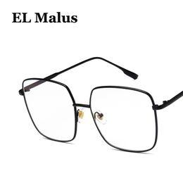 2019 herren-silber-metall-brillenfassungen [EL Malus] Große Quadratische Brillen Rahmen Frauen Herren Klar Transparente Linse Gläser Metall Schwarz Gold Silber Shades Marke Designer günstig herren-silber-metall-brillenfassungen