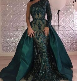 Wholesale One Sleeve Prom Dresses Sparkly - Hunter Green One Shoulder Long Sleeves Mermaid Prom Dresses 2018 New Sparkly Sequins Evening Gowns With Satin Overskirt Pageant Wear BA7441