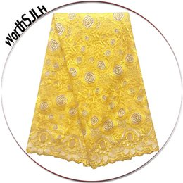 Wholesale Net Swiss Voile Lace - 2018 Beaded African Tulle Lace Fabric High Quality Swiss Voile Lace Yellow French Net African Lace Fabric For Wedding Dress