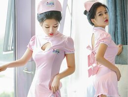 Wholesale White Nurses Uniform Dress - Nurses uniform sexy lingerie female uniform seduced dress sexy adult exposed dress cosplay