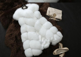 Wholesale Black Fur Gilet - High quality Faux Fox Fur Vest Women Winter Fashion Luxury Women's Coat Jacket Pink Gilet Veste Fourrure Femme