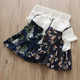 Wholesale Fake Brand Dresses - Summer Kids dress shirts girls flowers leaves printed dress kids round collar short sleeve fake two piece dress girl princess tops Y0597