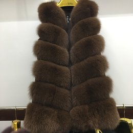 Wholesale Brown Gilet - 2017 New fashion natural FOX fur long vest real FOX fur gilet winter high quality women real coat A380-021