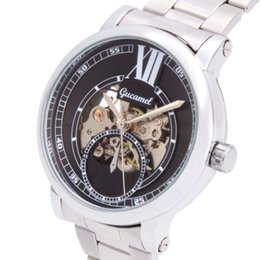 Wholesale Winner Watches Automatic - Spiral crown skeleton winner famous design Casual hollow business leather classic men mechanical Automatic wrist army watch A279