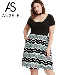 67a912f60a8f8c vintage stripe kleid Rabatt 2018 Frauen Plus Size Vintage Kleid Streifen  Druck Kurzarm Casual Club Tragen
