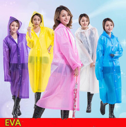 Wholesale women long rain coat - Women EVA Transparent Raincoat Hooded Poncho Rainwear Portable Environmental Light Waterproof Raincoat Long Use Rain Coat OOA5200