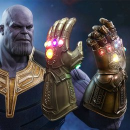 Wholesale halloween movie prop - 2018 Movie Avengers 3 Infinity War LED Infinity Gauntlet Thanos LED Gloves Halloween Party Cosplay Props New