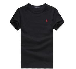Wholesale acrylic shorts - 2018 T-shirt Men Black Summer T Shirt Men Small Horse Embroidery Short Sleeve Solid Casual White Tshirt Men 100% Cotton Tee Shirt Tops S-6XL