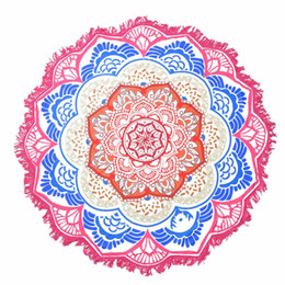 round tablecloths cotton Promo Codes - Mandala Beach Towel Large Lotus Printing Yoga Mat Round Tassel Tapestry Totem Blanket Hippy Boho Tablecloth 150cm 59''