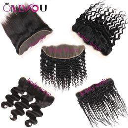 Encaje delantero cierre profundo rizado online-Onlyou Hair® Proveedores brasileños de cabello virgen Body Wave 13x4 Encaje Cierre frontal Frente Recta onda Kinky Curly Encaje brasileño Frontal paquetes