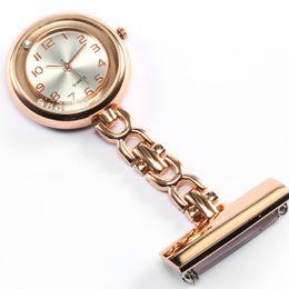 Enfermera reloj acero online-Lujo Cristal Rosa Oro Acero Inoxidable Enfermeras Pin FOB Reloj con Clip Broche Colgante Cuarzo Redondo Reloj de Bolsillo Hombres Mujeres relogio
