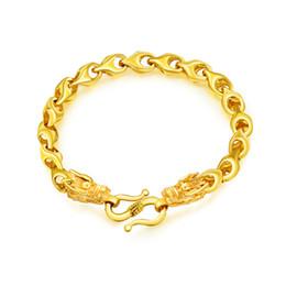 Pulseras de cadena de cobre online-2018 Vintage Copper Gold Trigo Cadena Broche Pulseras Para Hombres Pulsera Individual Joyería Dragón Diseño Curb Cuban Link Chain KS996