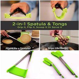 2019 strumento di imballaggio manuale Spatola intelligente Tong 2-in-1 Spatola da cucina Pinza antiaderente Resistente al calore Lavastoviglie Utensili da cucina di sicurezza Spatola e pinze da cucina
