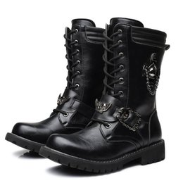 8fe976de8fc6a2 schwarze stiefel schädel Rabatt Neue Designer Männer Schwarz Mode Boot  Schnüren Schädel Charme Martin Boot Freizeit