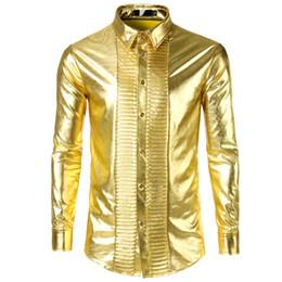 2019 uomini camicia lucido Shiny Gold Metallic Shirt Men 2018 Fashion Nightclub Stage Uomo Camicie Casual Slim Fit manica lunga Chemise Homme uomini camicia lucido economici