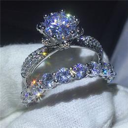 2019 pietre aaaaa cz Gioielli fiore 925 anello in argento sterling set Completo AAAAA Zircone Cz pietra Fidanzamento wedding band anelli per le donne Regalo S18101608 sconti pietre aaaaa cz