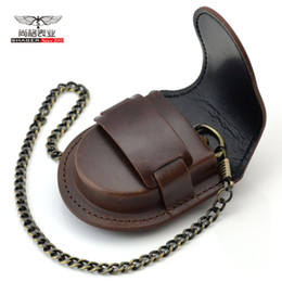 Wholesale Vintage Male Watches - Fashion Brand male back   brown cover vintage classic pocket watch Box Holder Storage Case Purse Pouch Bag w  Chain