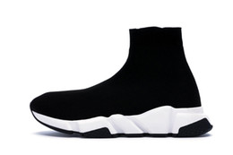 red socks fashion Coupons - 2019 Designer Sneakers Speed Trainer Runner Black Red Top Quality Triple Black Fashion Flat Socks Boots Casual Shoes Size 36-48