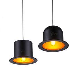 Wholesale Outside Home Lighting - Retro Pendant Lamp Holder Jeeves & Wooster Top Hat Pendant Lights Aluminum Hat Light for Home Outside Black Inside Golden