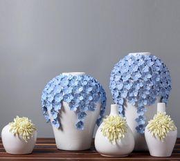 Florero de cerámica de la Margarita amarilla florero decoración para el hogar grandes jarrones de piso para la decoración de la boda artesanía de cerámica figuras de porcelana desde fabricantes