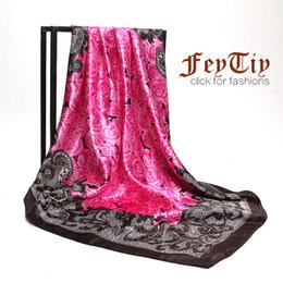 Wholesale Flower Head Scarf - Womens Rose Red Flower Print Silk-Satin Square Head Scarves 2018 New Brand Spring Hijab Shawl Wraps Wholesale 90cm*90cm