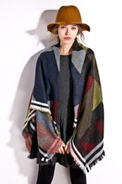 Wholesale Lady Large Rings - Winter New Geometric Collision Color Cashmere Shawl Female European and American Fashion Warm and Large Scarf Lady Scarf